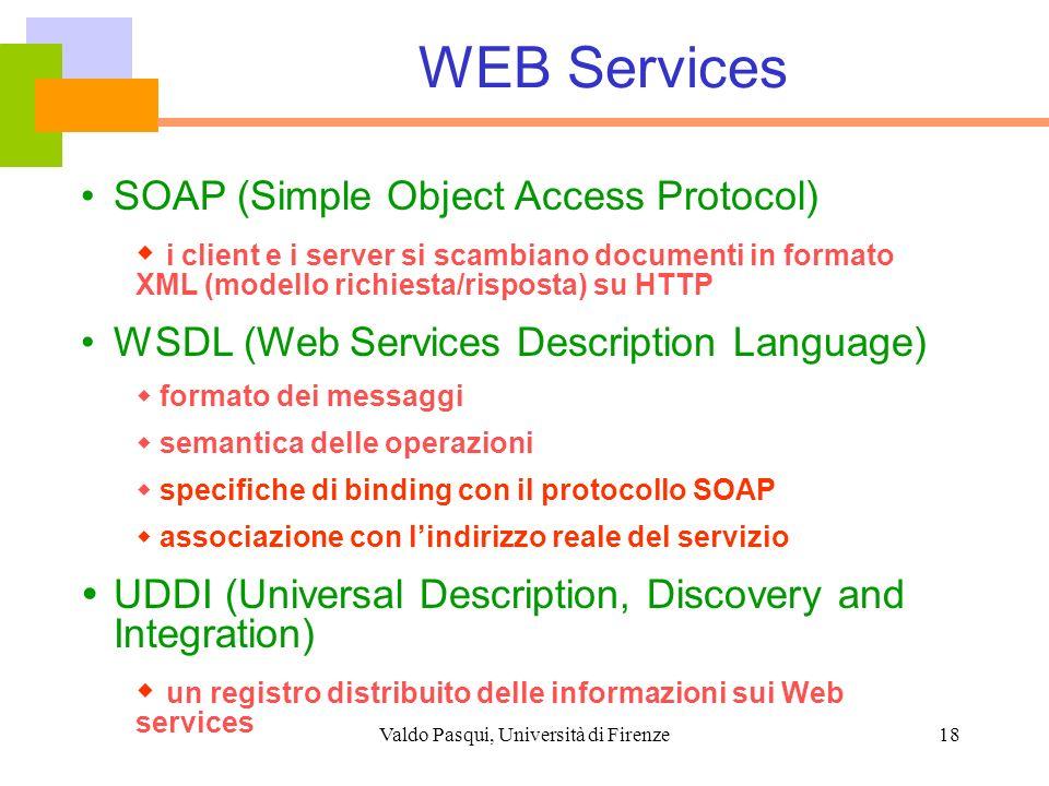 Valdo Pasqui, Università di Firenze18 WEB Services SOAP (Simple Object Access Protocol) i client e i server si scambiano documenti in formato XML (mod