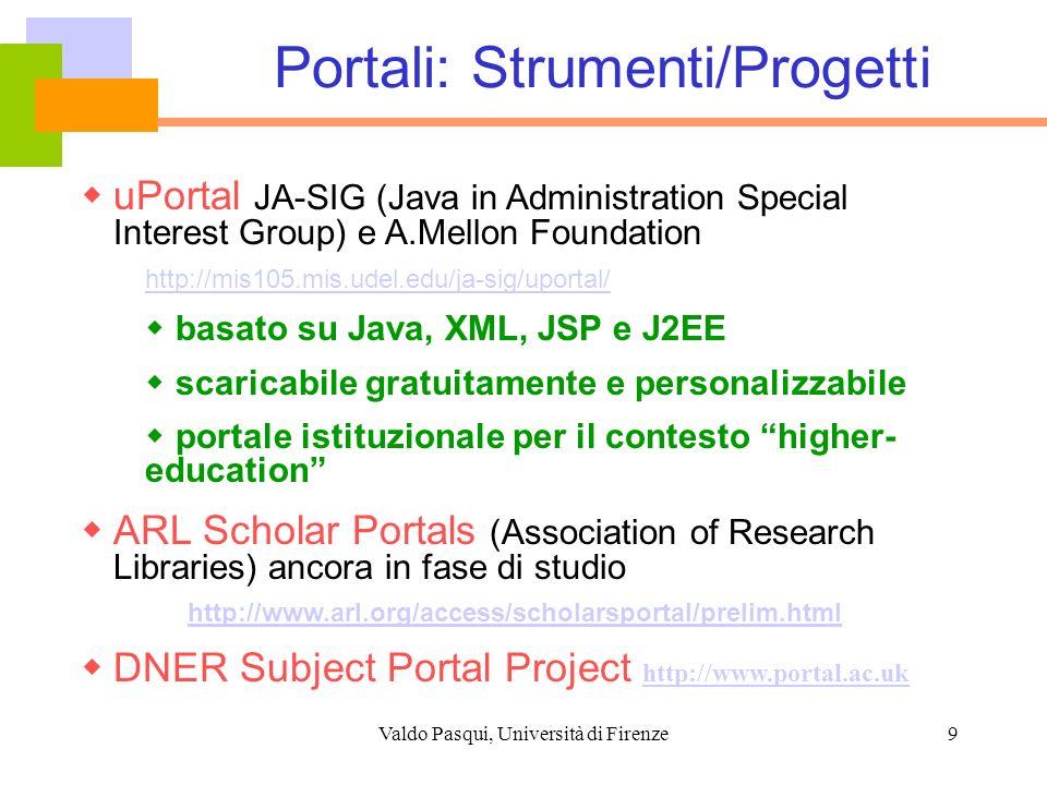 Valdo Pasqui, Università di Firenze10 Modelli Distribuito (cross-searching) basato su Z39.50 evoluzione ai Web Services (SRW/SRU) Harvesting dei metadati Open Archives Initiative (OAI) e PMH Reference Linking (context sensitive) OpenURL + Linking Server