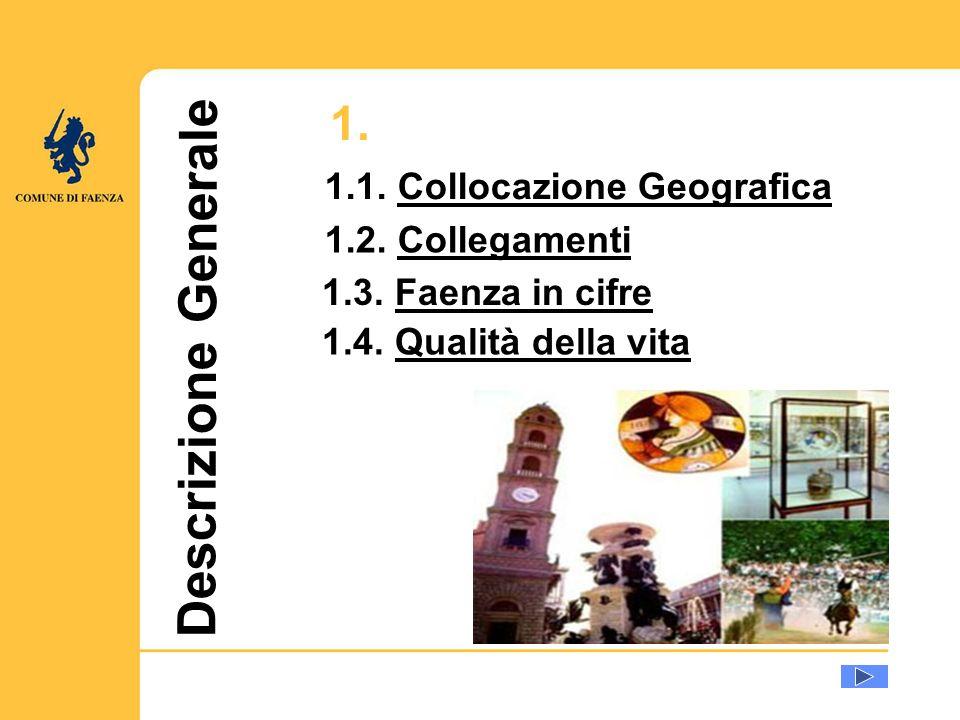 Descrizione Generale 1.1. Collocazione GeograficaCollocazione Geografica 1.2. CollegamentiCollegamenti 1.4. Qualità della vitaQualità della vita 1.3.