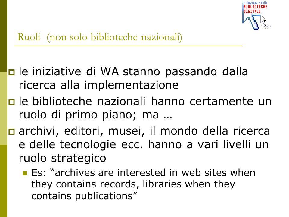 Ruoli(non solo biblioteche nazionali) le iniziative di WA stanno passando dalla ricerca alla implementazione le biblioteche nazionali hanno certamente un ruolo di primo piano; ma … archivi, editori, musei, il mondo della ricerca e delle tecnologie ecc.