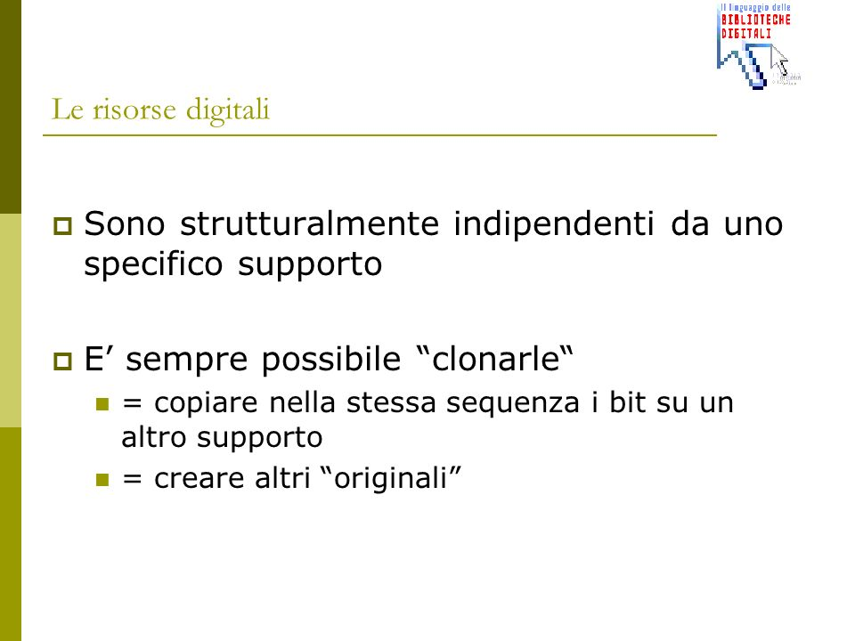se il digitale è indipendente dal supporto allora per conservare la catena di 0 e di 1 è sufficiente replicare quella catena con regolarità (prima che..) scegliendo supporti di destinazione aggiornati su più supporti con qualità