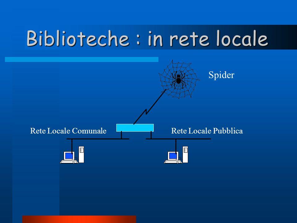 Biblioteche : in rete locale Rete Locale PubblicaRete Locale Comunale Spider