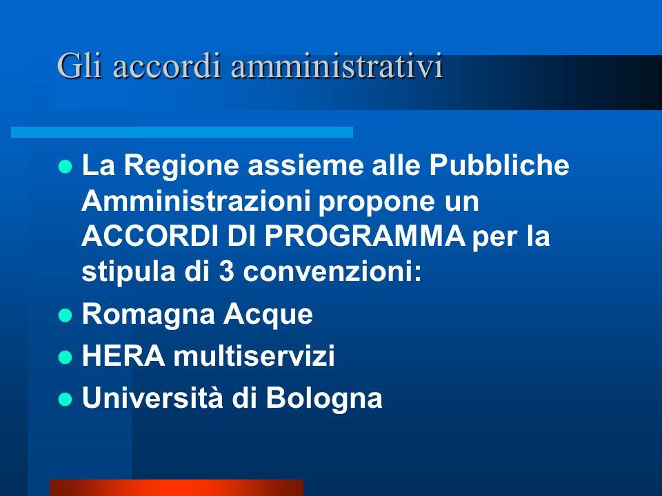 Gli accordi amministrativi La Regione assieme alle Pubbliche Amministrazioni propone un ACCORDI DI PROGRAMMA per la stipula di 3 convenzioni: Romagna Acque HERA multiservizi Università di Bologna