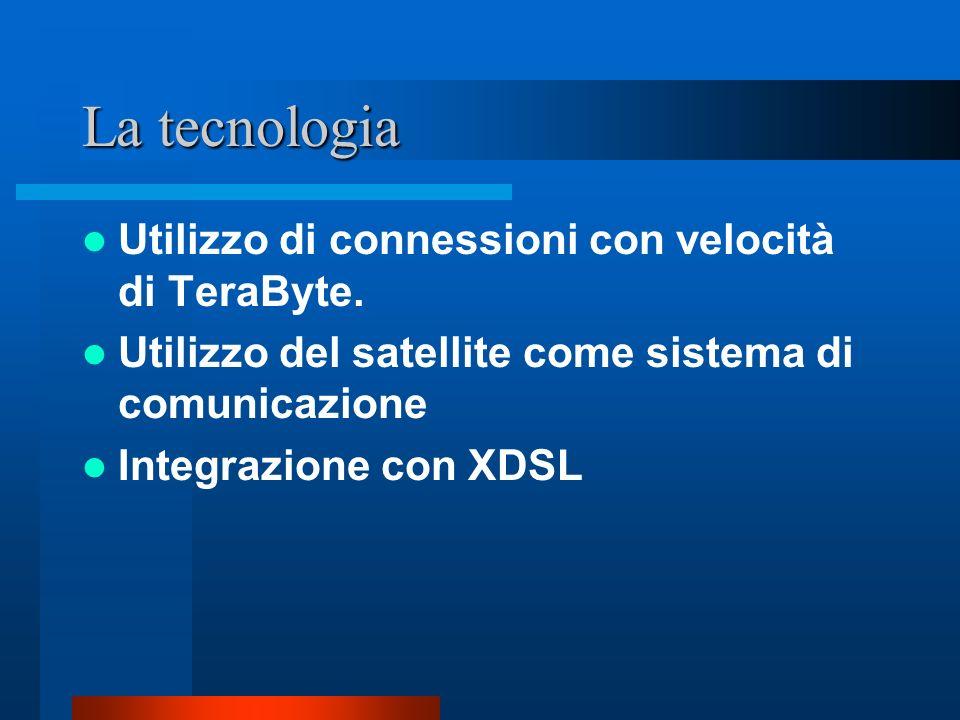 La tecnologia Utilizzo di connessioni con velocità di TeraByte. Utilizzo del satellite come sistema di comunicazione Integrazione con XDSL