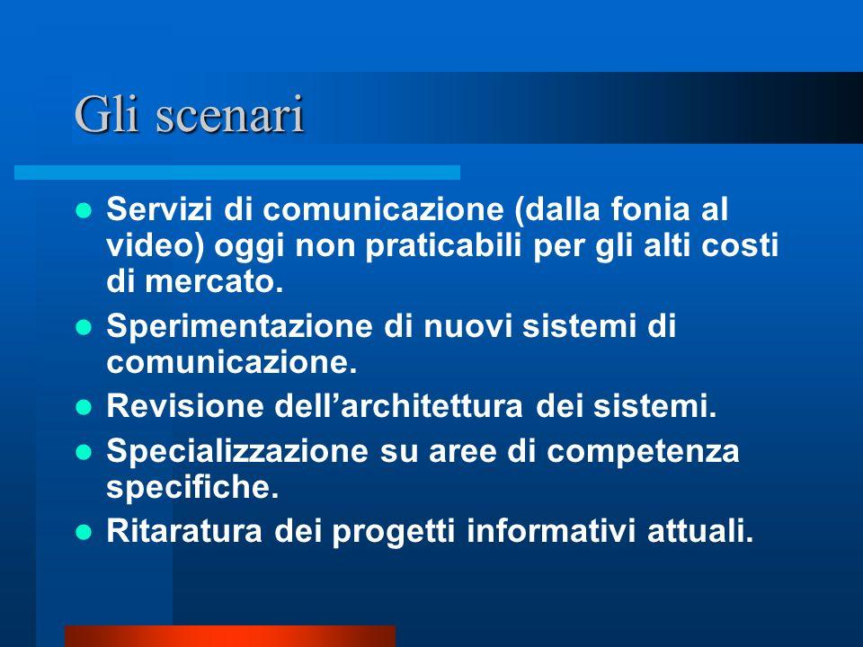 Gli scenari Servizi di comunicazione (dalla fonia al video) oggi non praticabili per gli alti costi di mercato. Sperimentazione di nuovi sistemi di co