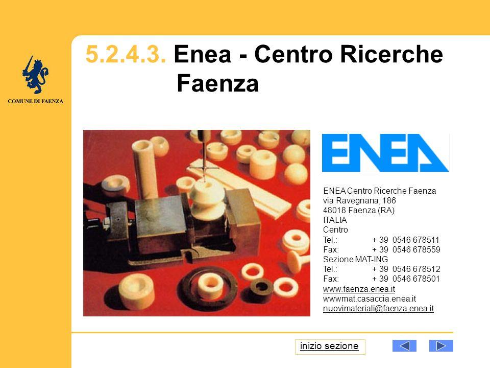 ENEA Centro Ricerche Faenza via Ravegnana, 186 48018 Faenza (RA) ITALIA Centro Tel.: + 39 0546 678511 Fax: + 39 0546 678559 Sezione MAT-ING Tel.: + 39