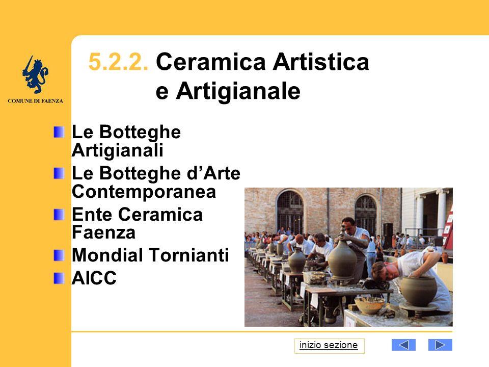 Le Botteghe Artigianali Le Botteghe dArte Contemporanea Ente Ceramica Faenza Mondial Tornianti AICC 5.2.2. Ceramica Artistica e Artigianale inizio sez