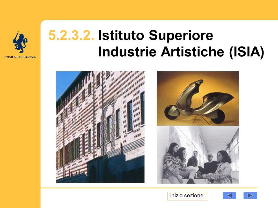 5.2.3.2. Istituto Superiore Industrie Artistiche (ISIA) inizio sezione