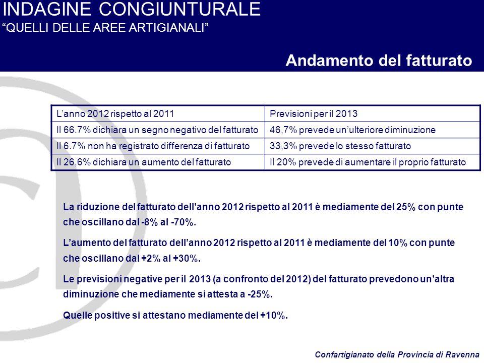 INDAGINE CONGIUNTURALE QUELLI DELLE AREE ARTIGIANALI Andamento del fatturato La riduzione del fatturato dellanno 2012 rispetto al 2011 è mediamente del 25% con punte che oscillano dal -8% al -70%.