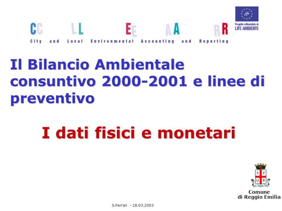 Comune di Reggio Emilia Il Bilancio Ambientale consuntivo 2000-2001 e linee di preventivo I dati fisici e monetari S.Ferrari - 28.03.2003