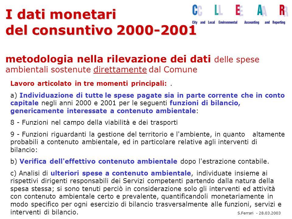 I dati monetari del consuntivo 2000-2001 I dati monetari del consuntivo 2000-2001 metodologia nella rilevazione dei dati delle spese ambientali sostenute direttamente dal Comune Lavoro articolato in tre momenti principali:.