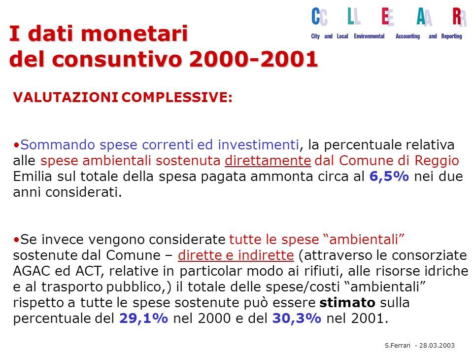 I dati monetari del consuntivo 2000-2001 Sommando spese correnti ed investimenti, la percentuale relativa alle spese ambientali sostenuta direttamente dal Comune di Reggio Emilia sul totale della spesa pagata ammonta circa al 6,5% nei due anni considerati.