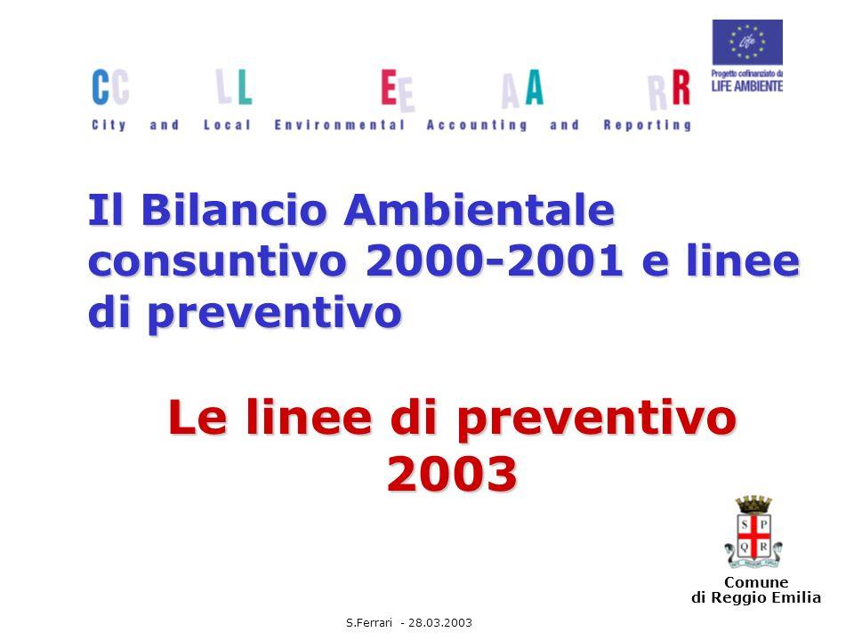 Comune di Reggio Emilia Il Bilancio Ambientale consuntivo 2000-2001 e linee di preventivo Le linee di preventivo 2003 S.Ferrari - 28.03.2003