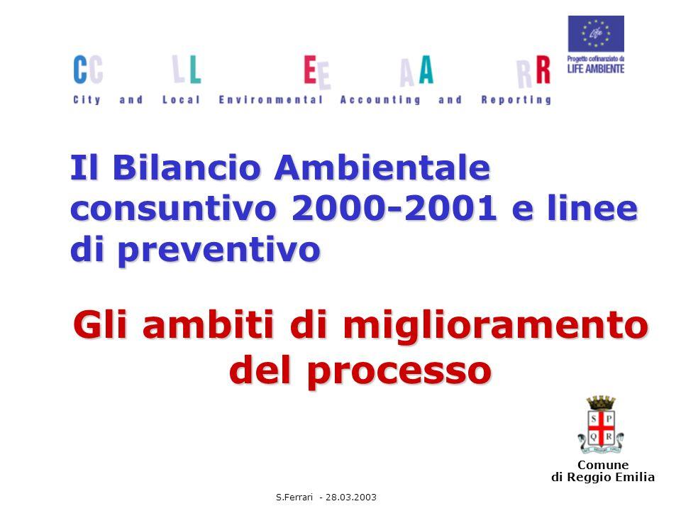 Comune di Reggio Emilia Il Bilancio Ambientale consuntivo 2000-2001 e linee di preventivo Gli ambiti di miglioramento del processo S.Ferrari - 28.03.2003