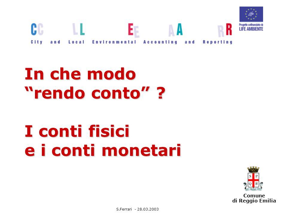 Comune di Reggio Emilia In che modo rendo conto .