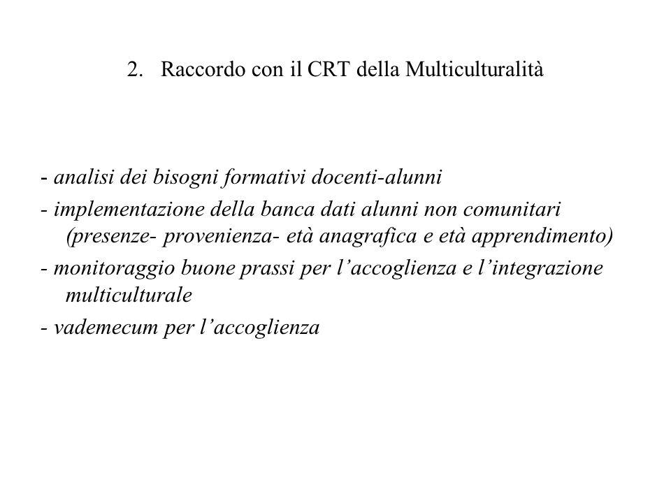 2. Raccordo con il CRT della Multiculturalità - analisi dei bisogni formativi docenti-alunni - implementazione della banca dati alunni non comunitari