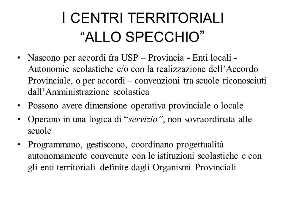 I CENTRI TERRITORIALI ALLO SPECCHIO Nascono per accordi fra USP – Provincia - Enti locali - Autonomie scolastiche e/o con la realizzazione dellAccordo