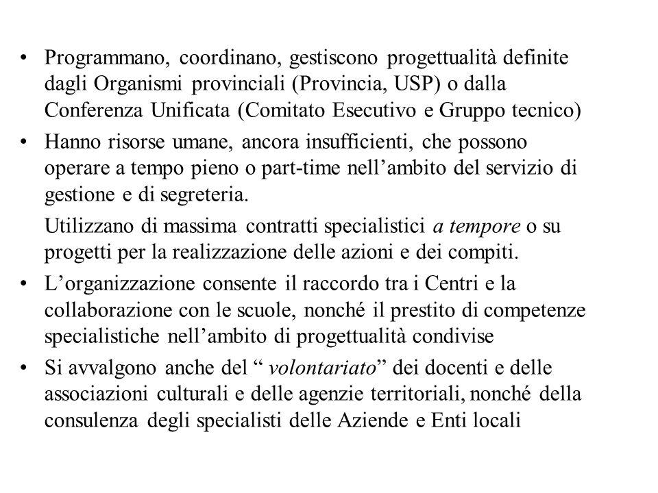 Programmano, coordinano, gestiscono progettualità definite dagli Organismi provinciali (Provincia, USP) o dalla Conferenza Unificata (Comitato Esecuti