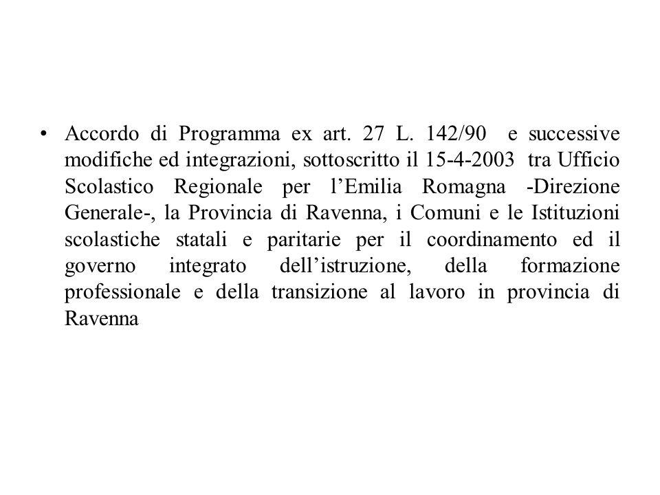 Accordo di Programma ex art. 27 L. 142/90 e successive modifiche ed integrazioni, sottoscritto il 15-4-2003 tra Ufficio Scolastico Regionale per lEmil