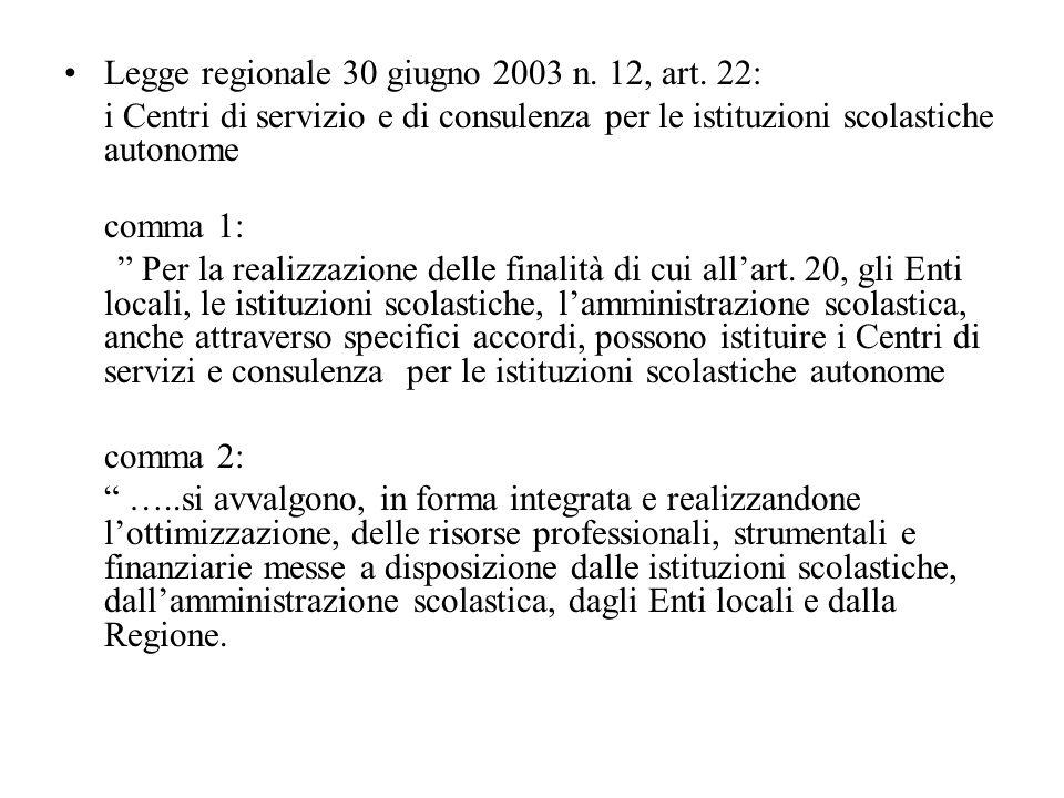Legge regionale 30 giugno 2003 n. 12, art. 22: i Centri di servizio e di consulenza per le istituzioni scolastiche autonome comma 1: Per la realizzazi
