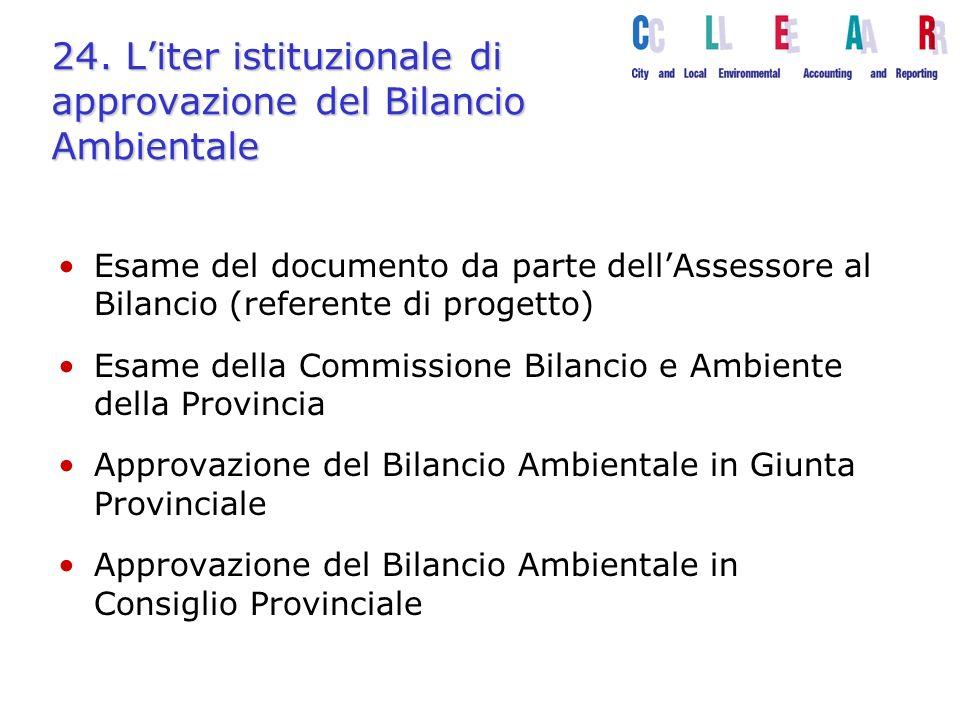 24. Liter istituzionale di approvazione del Bilancio Ambientale Esame del documento da parte dellAssessore al Bilancio (referente di progetto) Esame d