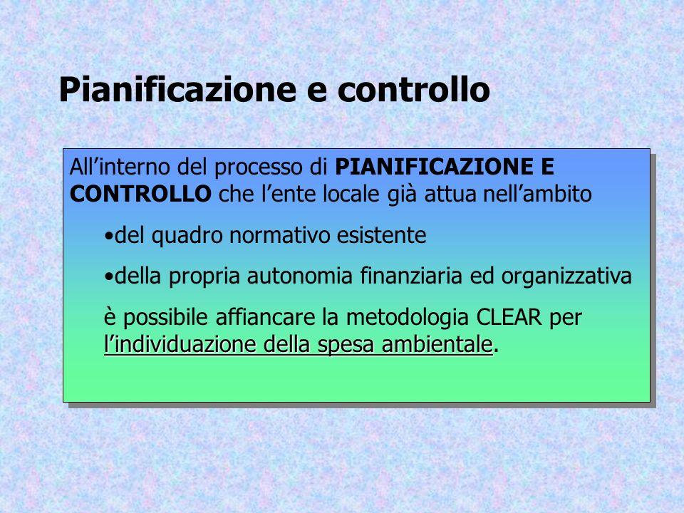 Pianificazione e controllo Allinterno del processo di PIANIFICAZIONE E CONTROLLO che lente locale già attua nellambito del quadro normativo esistente