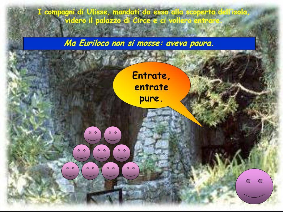 I compagni di Ulisse, mandati da esso alla scoperta dellisola, videro il palazzo di Circe e ci vollero entrare. Entrate, entrate pure. Ma Euriloco non