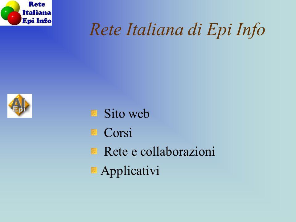 Rete Italiana di Epi Info Sito web Corsi Rete e collaborazioni Applicativi