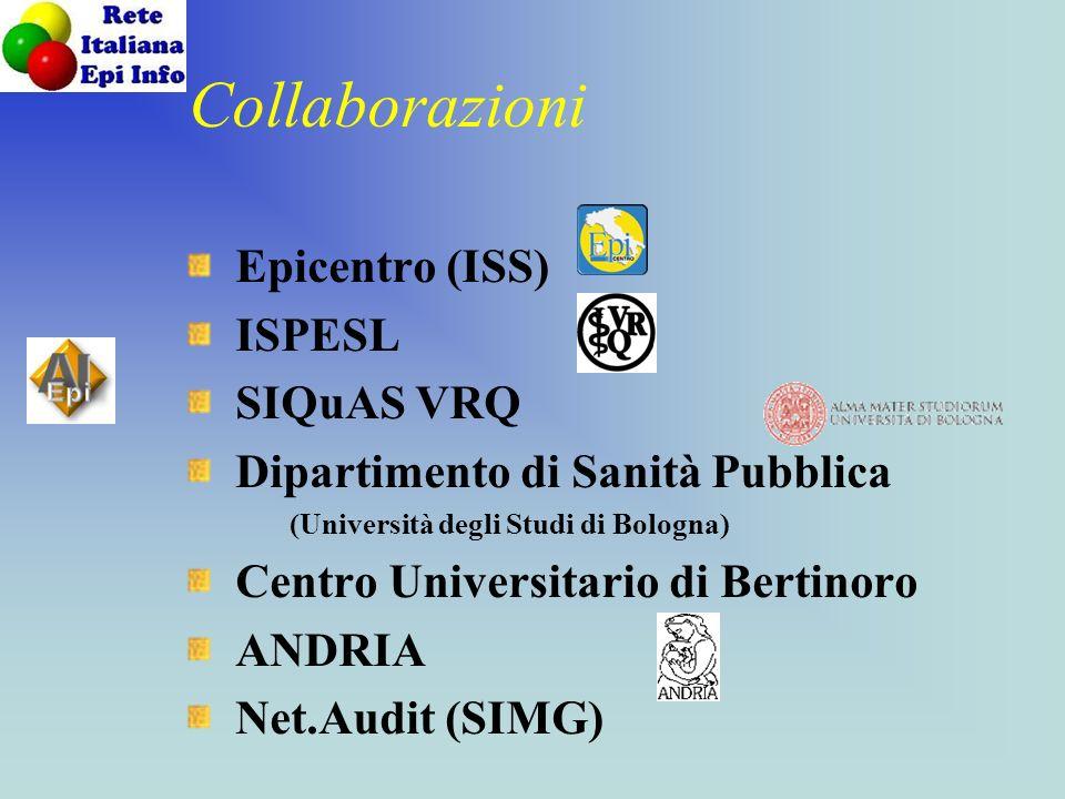 Collaborazioni Epicentro (ISS) ISPESL SIQuAS VRQ Dipartimento di Sanità Pubblica (Università degli Studi di Bologna) Centro Universitario di Bertinoro