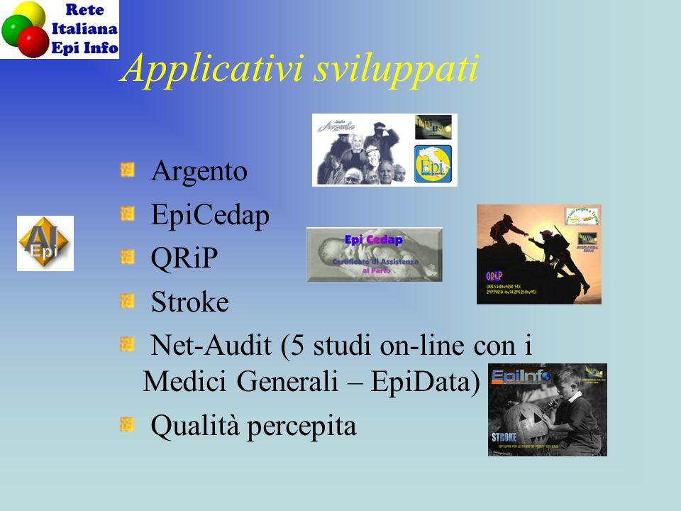 Applicativi sviluppati Argento EpiCedap QRiP Stroke Net-Audit (5 studi on-line con i Medici Generali – EpiData) Qualità percepita