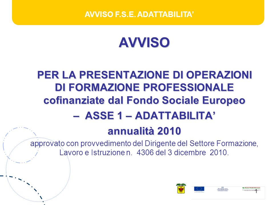 AVVISO F.S.E.ADATTABILITA 2 AZIONI FINANZIABILI -N.