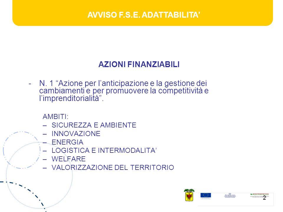 AVVISO F.S.E. ADATTABILITA 2 AZIONI FINANZIABILI -N.