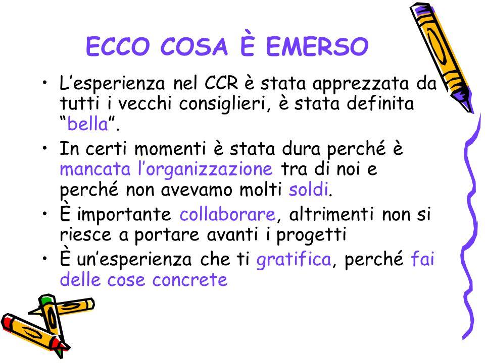 ECCO COSA È EMERSO Lesperienza nel CCR è stata apprezzata da tutti i vecchi consiglieri, è stata definita bella.