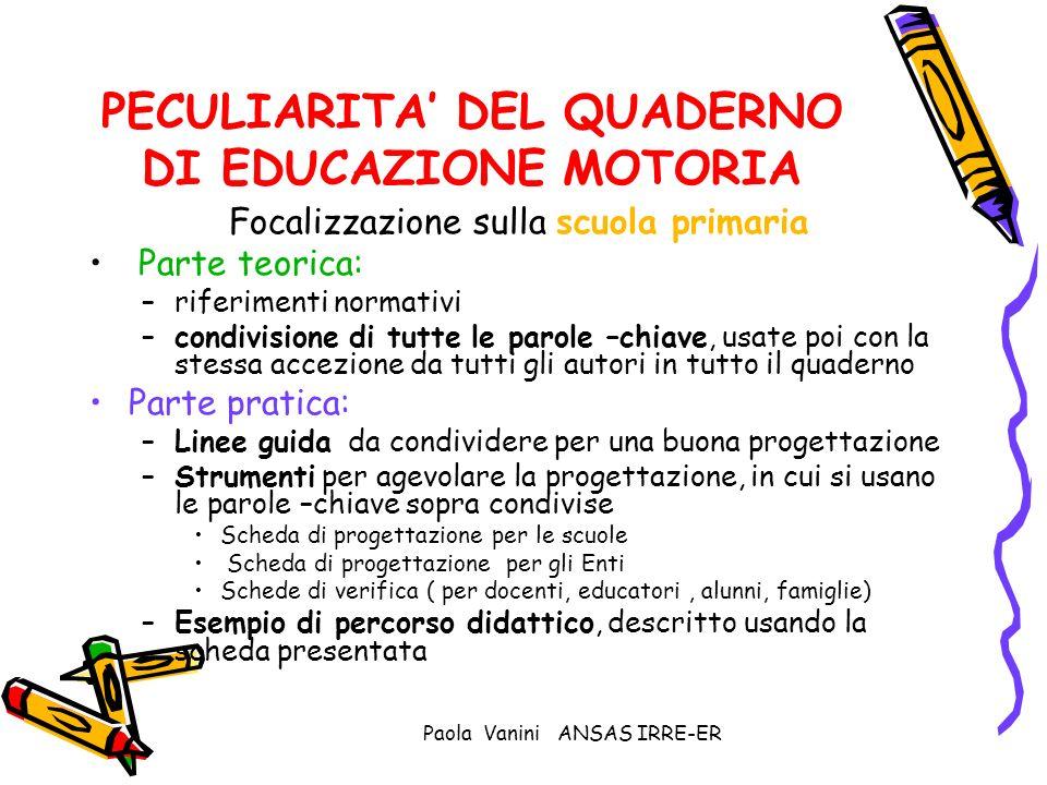 Paola Vanini ANSAS IRRE-ER PECULIARITA DEL QUADERNO DI EDUCAZIONE MOTORIA Focalizzazione sulla scuola primaria Parte teorica: –riferimenti normativi –