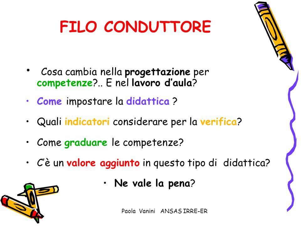 Paola Vanini ANSAS IRRE-ER FILO CONDUTTORE Cosa cambia nella progettazione per competenze?.. E nel lavoro daula? Come impostare la didattica ? Quali i
