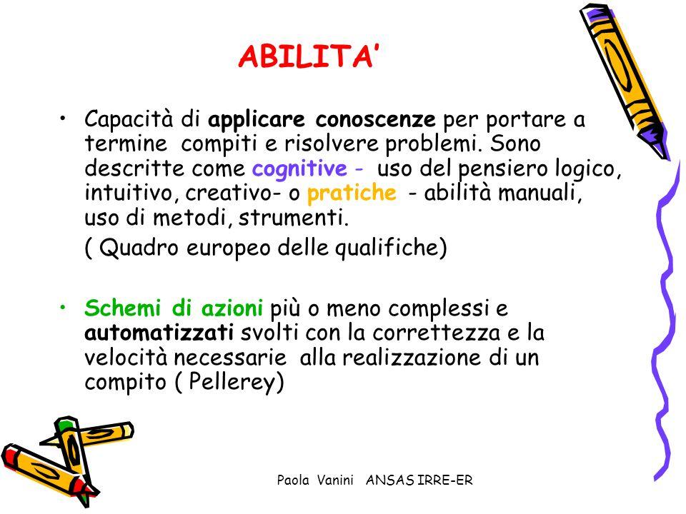 Paola Vanini ANSAS IRRE-ER ABILITA Capacità di applicare conoscenze per portare a termine compiti e risolvere problemi. Sono descritte come cognitive