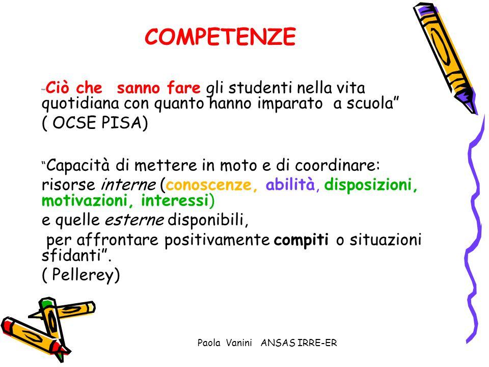 Paola Vanini ANSAS IRRE-ER COMPETENZE Ciò che sanno fare gli studenti nella vita quotidiana con quanto hanno imparato a scuola ( OCSE PISA) Capacità d