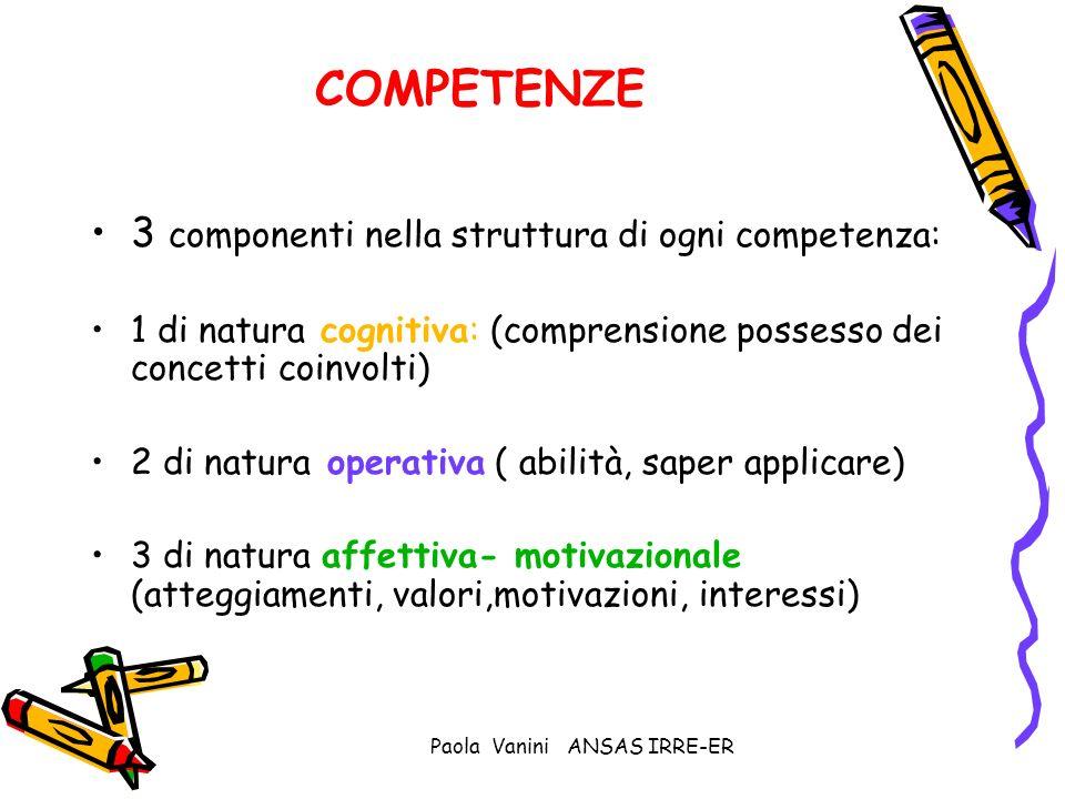 Paola Vanini ANSAS IRRE-ER COMPETENZE 3 componenti nella struttura di ogni competenza: 1 di natura cognitiva: (comprensione possesso dei concetti coin