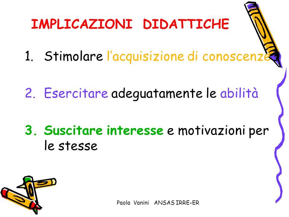 Paola Vanini ANSAS IRRE-ER IMPLICAZIONI DIDATTICHE 1.Stimolare lacquisizione di conoscenze 2.Esercitare adeguatamente le abilità 3.Suscitare interesse