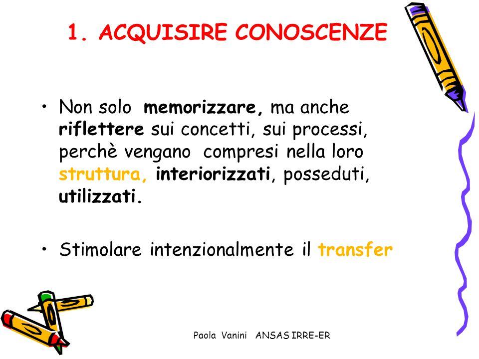 Paola Vanini ANSAS IRRE-ER 1. ACQUISIRE CONOSCENZE Non solo memorizzare, ma anche riflettere sui concetti, sui processi, perchè vengano compresi nella