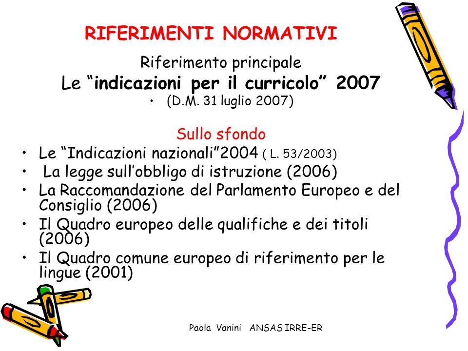 Paola Vanini ANSAS IRRE-ER RIFERIMENTI NORMATIVI Riferimento principale Le indicazioni per il curricolo 2007 (D.M. 31 luglio 2007) Sullo sfondo Le Ind