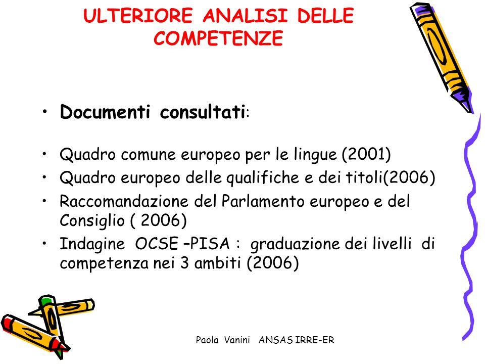 Paola Vanini ANSAS IRRE-ER ULTERIORE ANALISI DELLE COMPETENZE Documenti consultati : Quadro comune europeo per le lingue (2001) Quadro europeo delle q