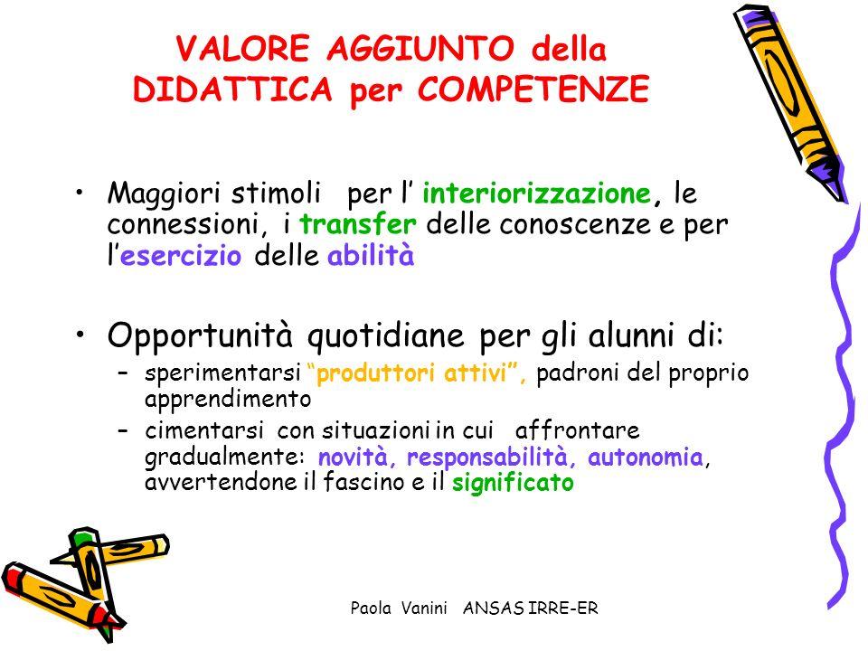 Paola Vanini ANSAS IRRE-ER VALORE AGGIUNTO della DIDATTICA per COMPETENZE Maggiori stimoli per l interiorizzazione, le connessioni, i transfer delle c