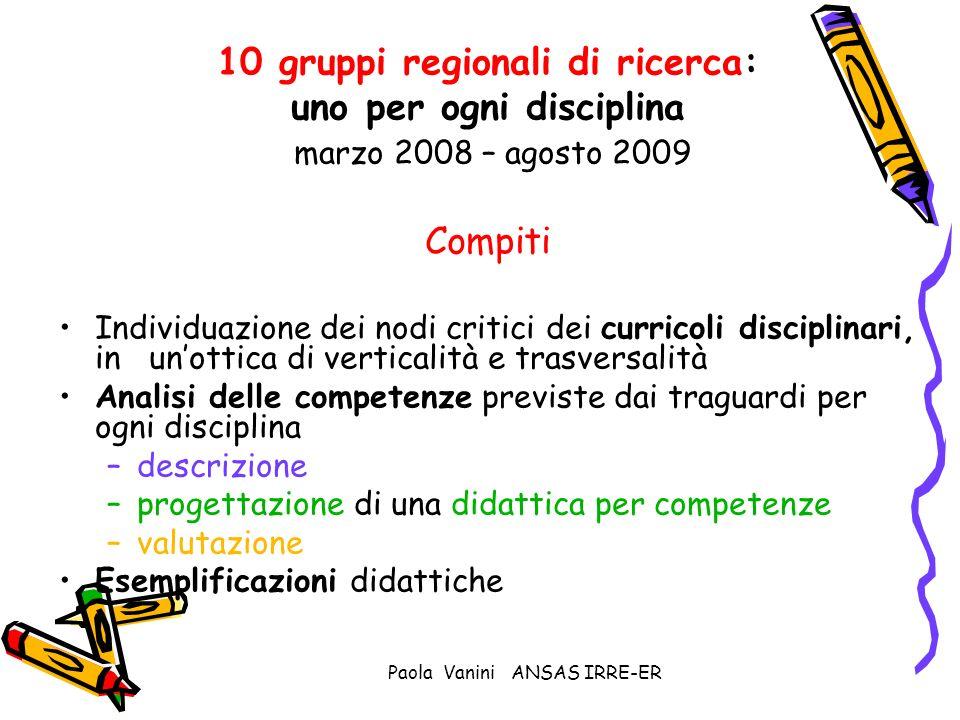 Paola Vanini ANSAS IRRE-ER 10 gruppi regionali di ricerca: uno per ogni disciplina marzo 2008 – agosto 2009 Compiti Individuazione dei nodi critici de