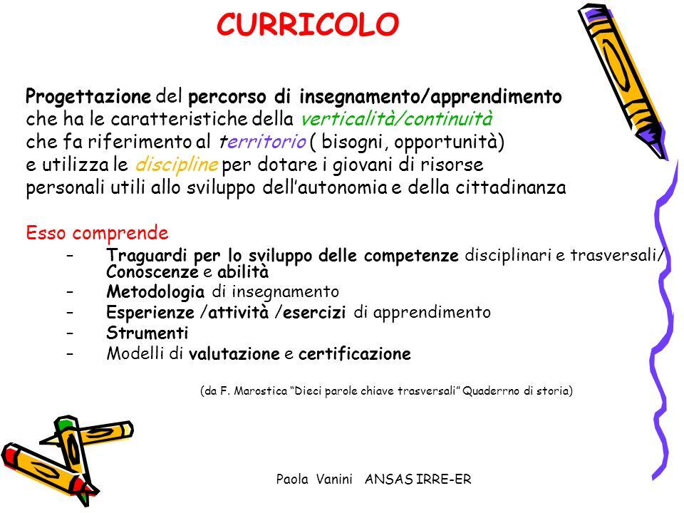 Paola Vanini ANSAS IRRE-ER CURRICOLO Progettazione del percorso di insegnamento/apprendimento che ha le caratteristiche della verticalità/continuità c