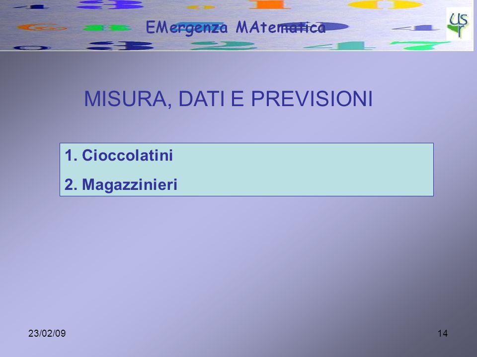 23/02/0914 MISURA, DATI E PREVISIONI 1. Cioccolatini 2. Magazzinieri