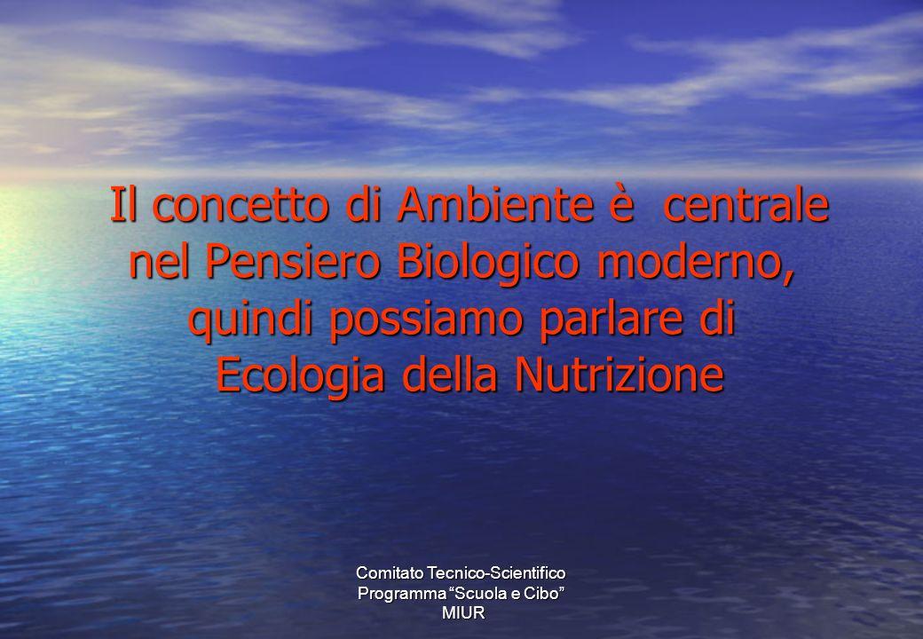 Il concetto di Ambiente è centrale nel Pensiero Biologico moderno, quindi possiamo parlare di Ecologia della Nutrizione Il concetto di Ambiente è centrale nel Pensiero Biologico moderno, quindi possiamo parlare di Ecologia della Nutrizione Comitato Tecnico-Scientifico Programma Scuola e Cibo MIUR MIUR