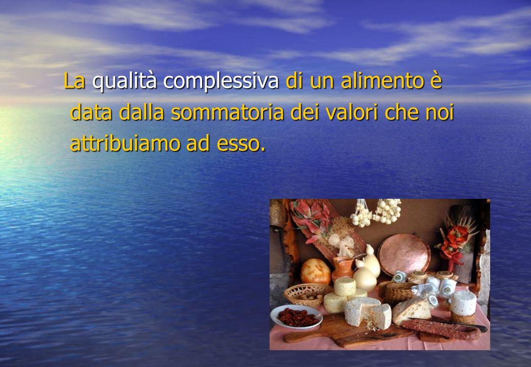 La qualità complessiva di un alimento è data dalla sommatoria dei valori che noi data dalla sommatoria dei valori che noi attribuiamo ad esso.