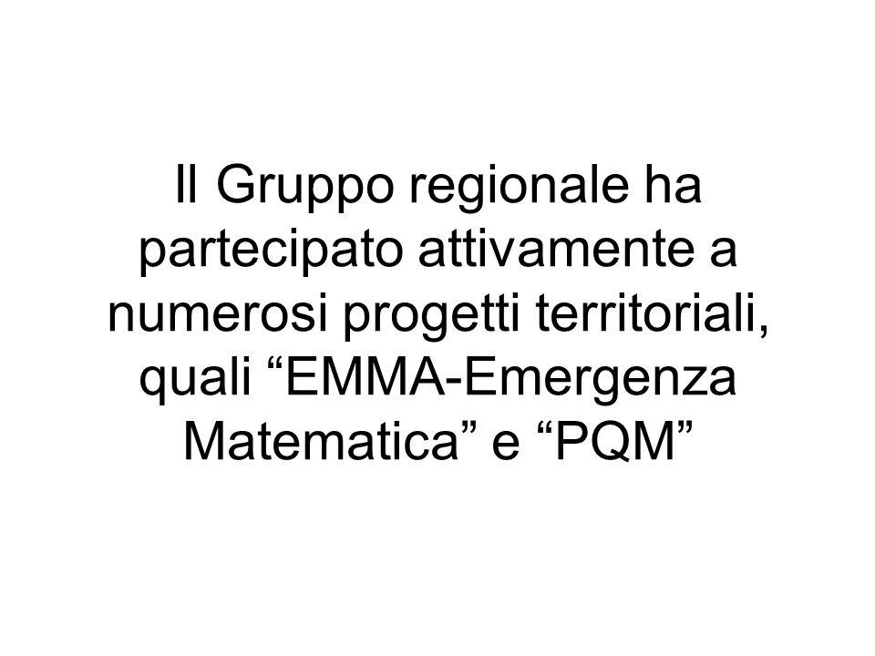 Il Gruppo regionale ha partecipato attivamente a numerosi progetti territoriali, quali EMMA-Emergenza Matematica e PQM
