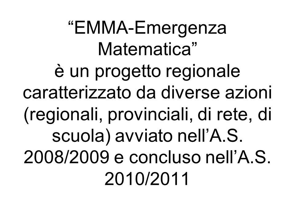 EMMA-Emergenza Matematica è un progetto regionale caratterizzato da diverse azioni (regionali, provinciali, di rete, di scuola) avviato nellA.S.